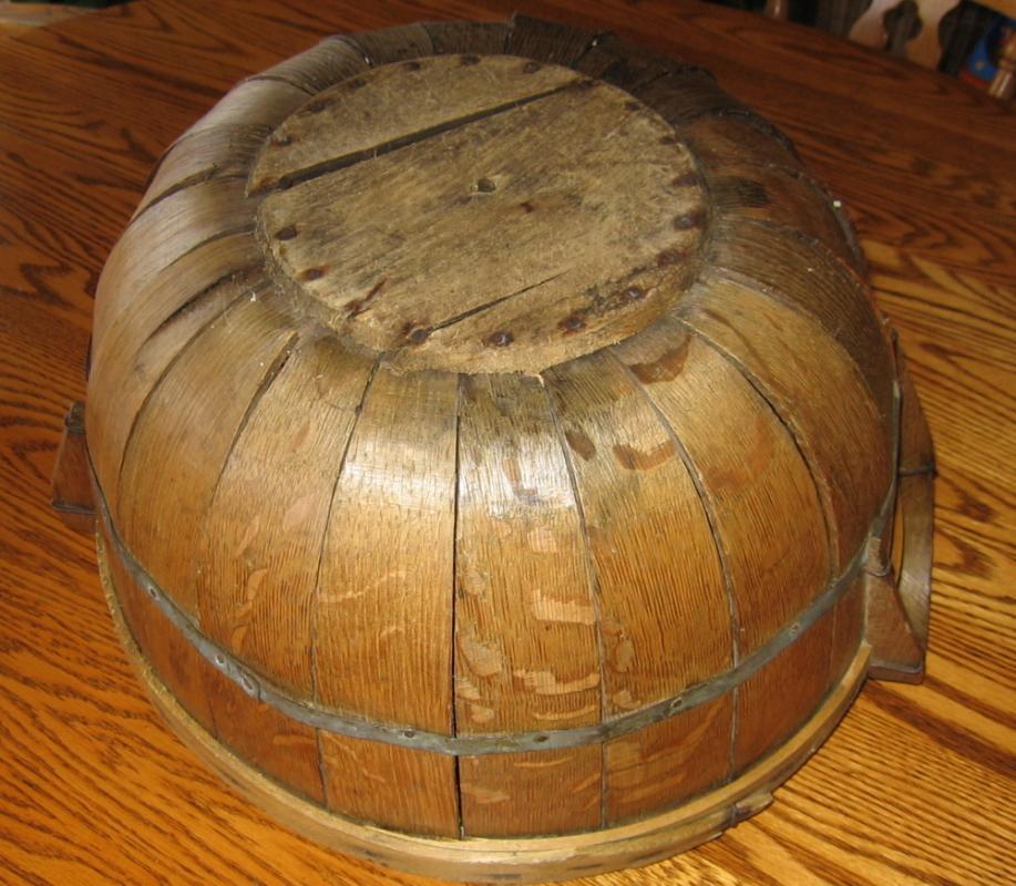 Rare 1/2 Bushel Oak GATHERING BASKET - Antique Field Harvest Basket