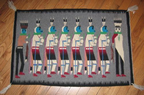 Native American Indian Yei Pictorian Rug - Vintage EthnographicTextile