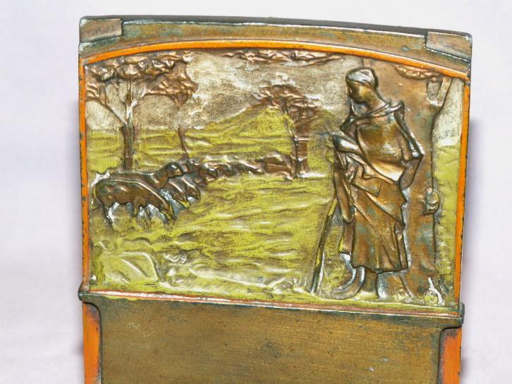 Pompeian Bronze THE SHEPHERDESS Polychrome Bookends - Misc.