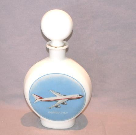 BOEING 747 Milk Glass Decanter Bottle - Advertising
