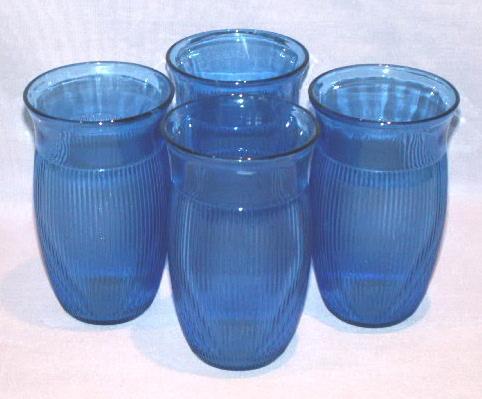 4 Cobalt Depression Glass Tumblers