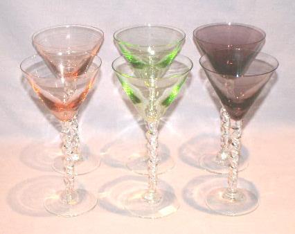 6 Multi Colored Glass Stemware