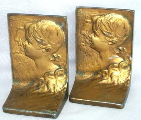 Bronze Plated GIRL IN PROFILE Cast Metal Bookends - Metalware