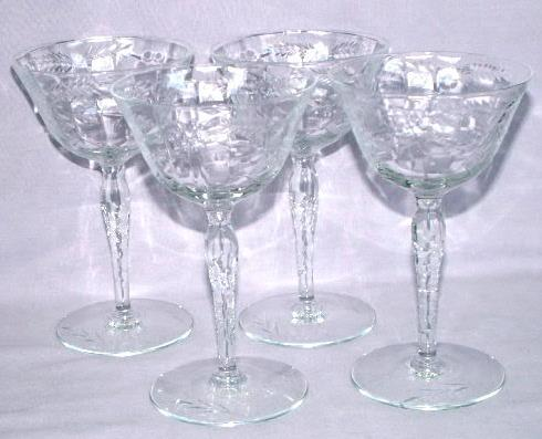 Four Crystal Glass Wine Glasses