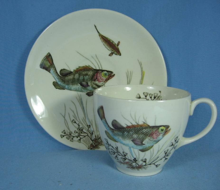 Johnson Brothers FISH Cup and Saucer Porcelain Antique Pottery