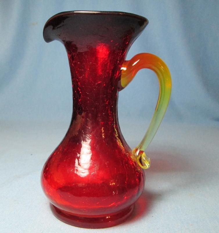 Amberina Crackle Glass Pitcher with Applied Handle