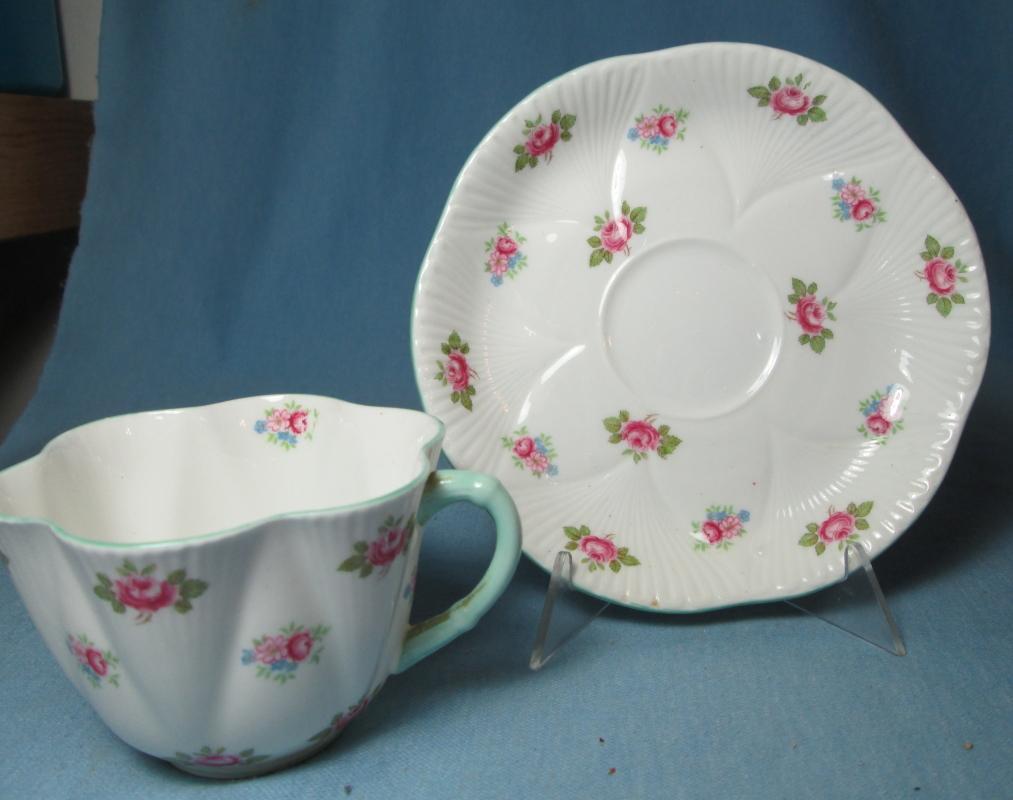 Shelley Porcelain Pottery ROSEBUD Cup and Saucer - Vintage Porcelain
