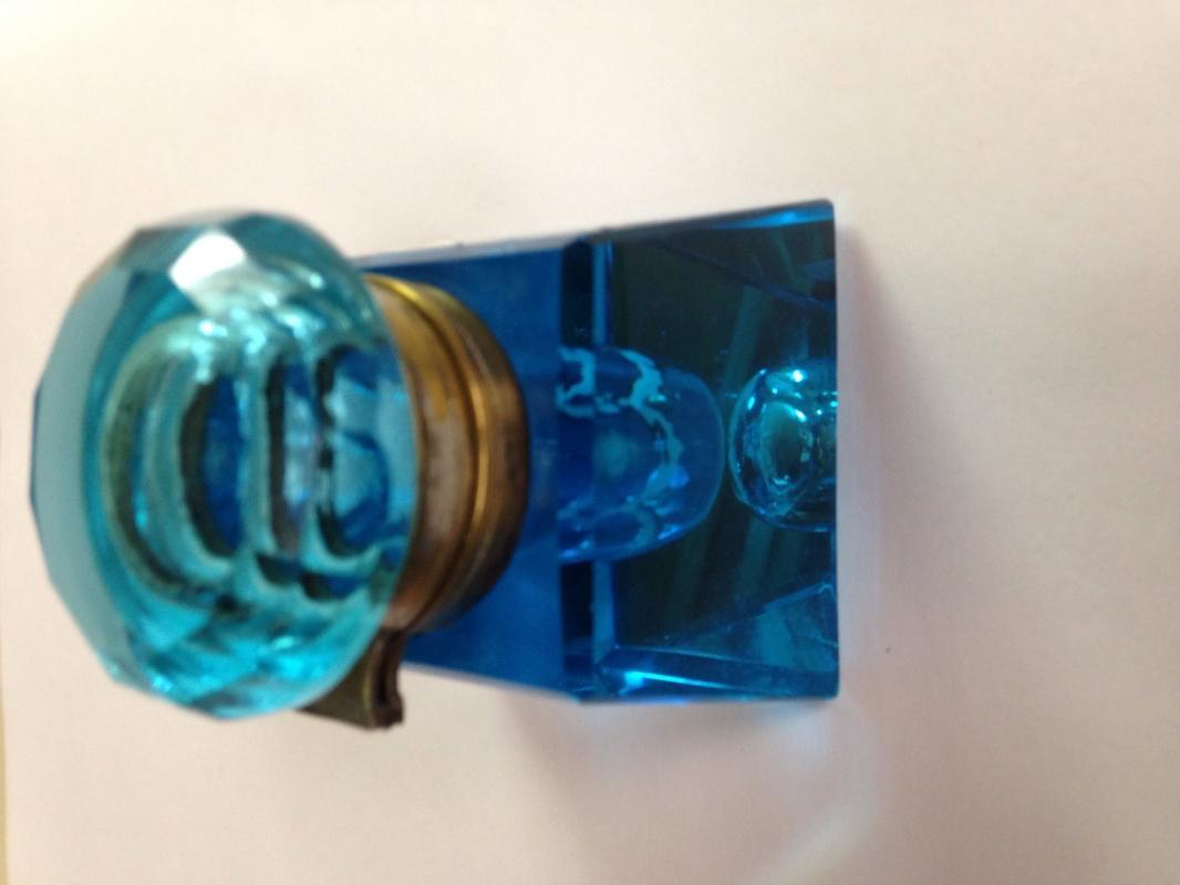 Electric Blue Cut Glass Hinged Inkwell - Glass