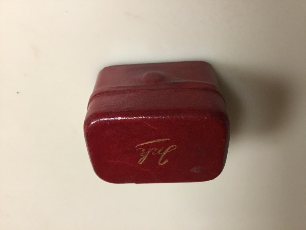 Red Leather Travel Pen Wipe INKWELL - Glass