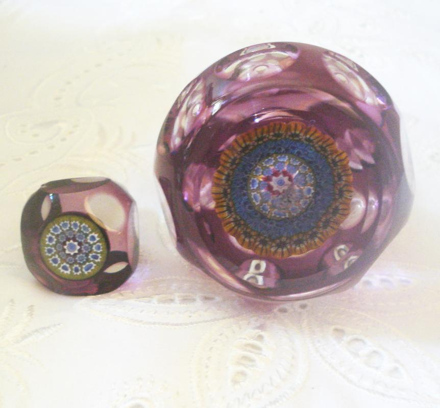 Purple Cut to Clear Perfume Bottle with Millefiori in Base and Stopper