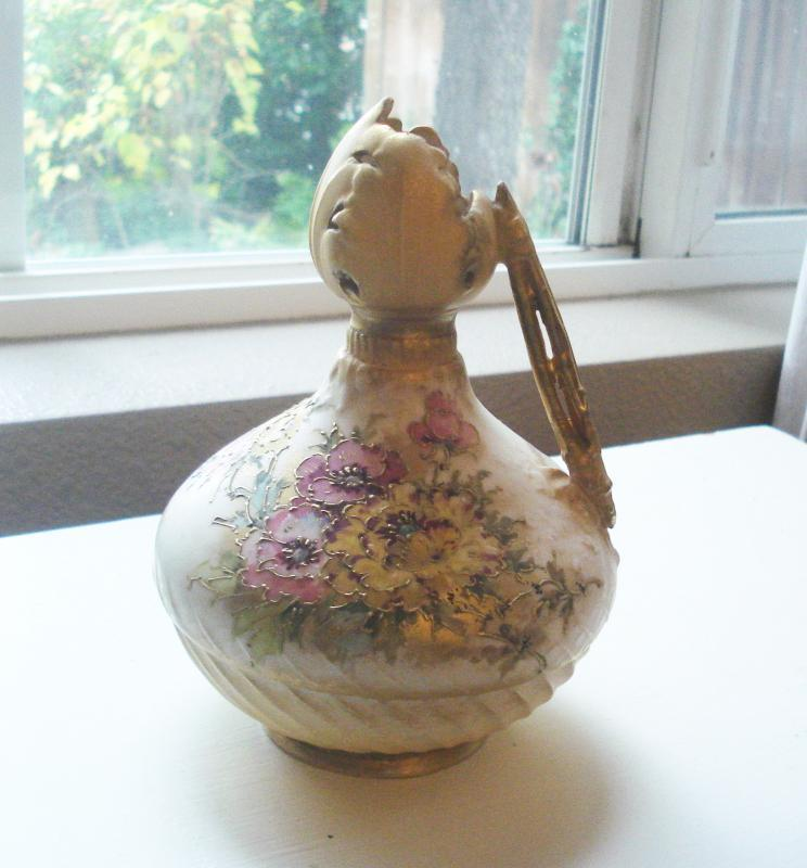 Mermod & Jaccard Cream Color Pitcher with Hand Painted Flowers