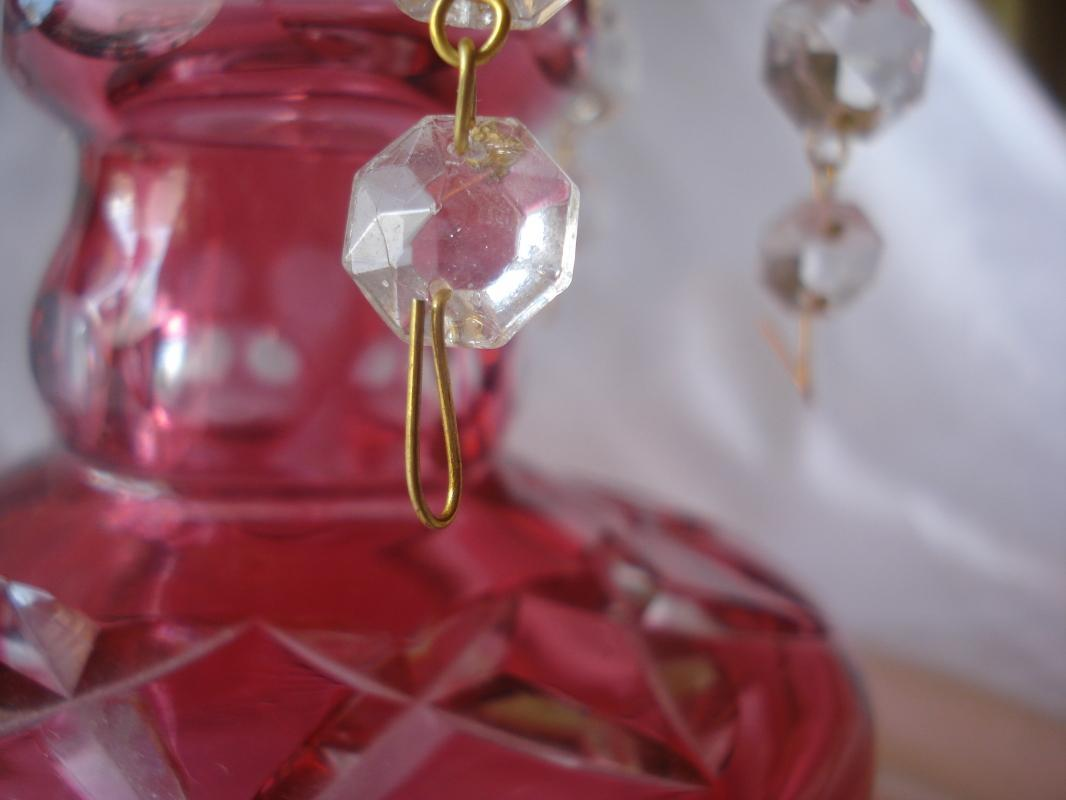 Red Cut to Clear Luster with Six Crystal Prisms