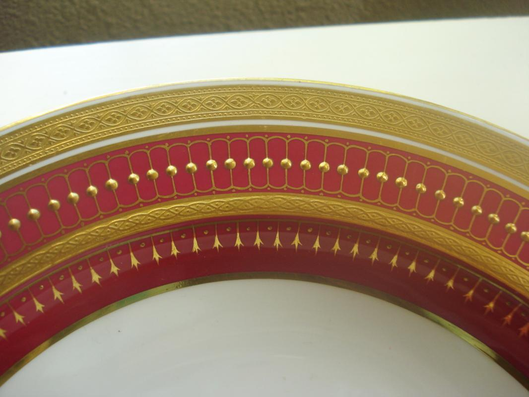 Minton Pink Rimmed Soup Bowl with Raised Gold