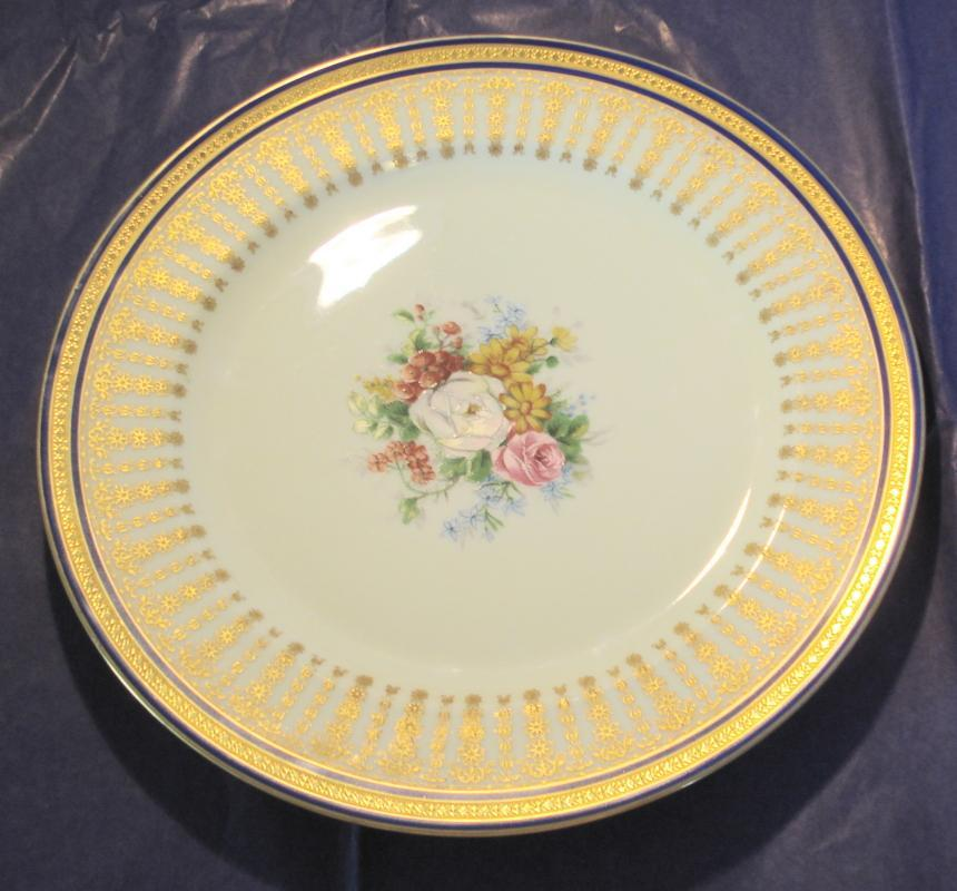 Charles Ahrenfeldt Limoges Hand Painted and Signed Plate with Raised Gold