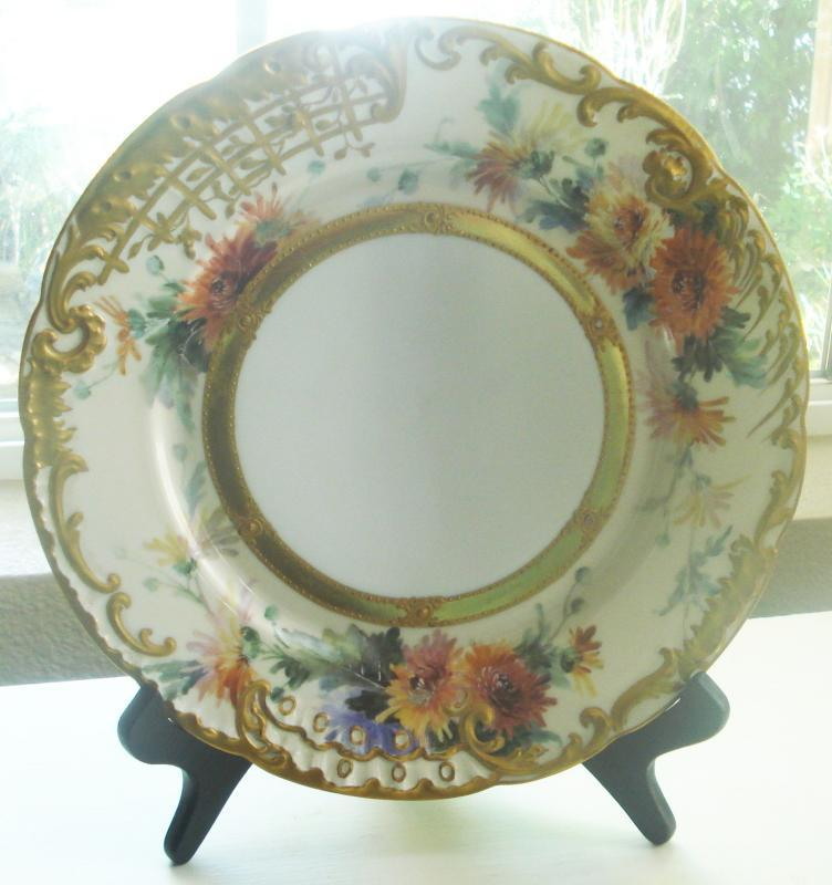 Beautiful Dresden Cabinet Plate Floral w/Raised Gold Gilt