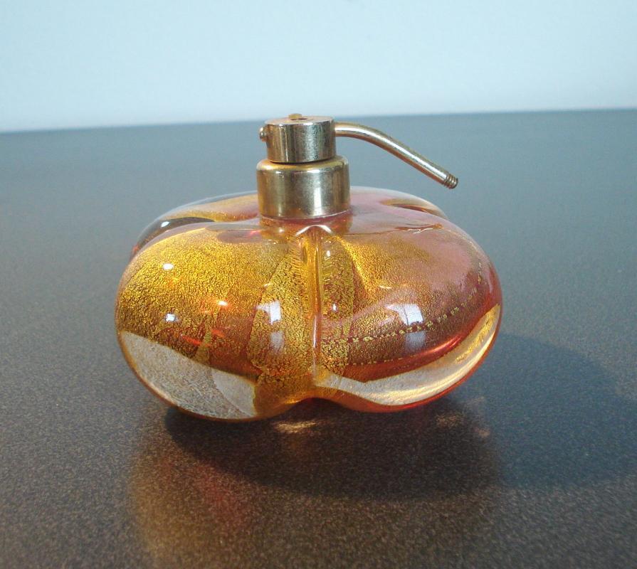 Cased Pink Glass Perfume Bottle inside Gold Glitter