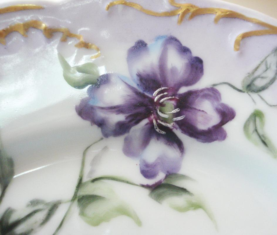 Purple Haviland Limoges Plate with Hand Painted Flowers and Gold Trim