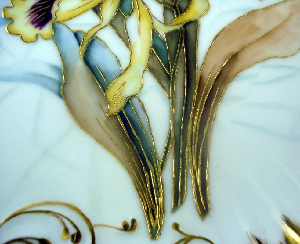 Hand Painted Plate of Irises Marked France