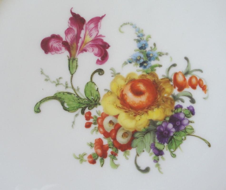 William Guerin White Plate with Floral Center