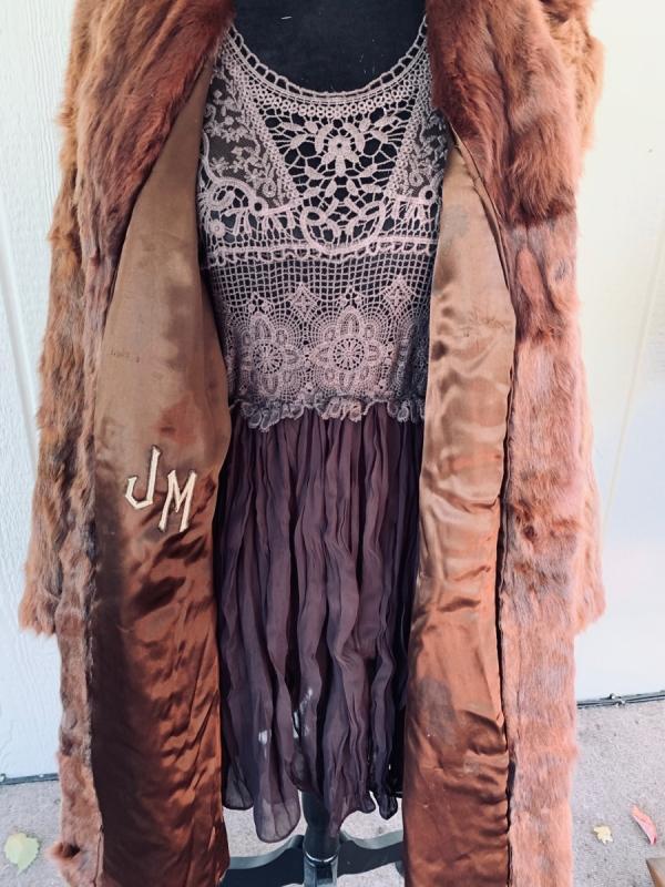 Antique 1910-1920 Silk Lined Caramel brown genuine Rabbit Fur Coat