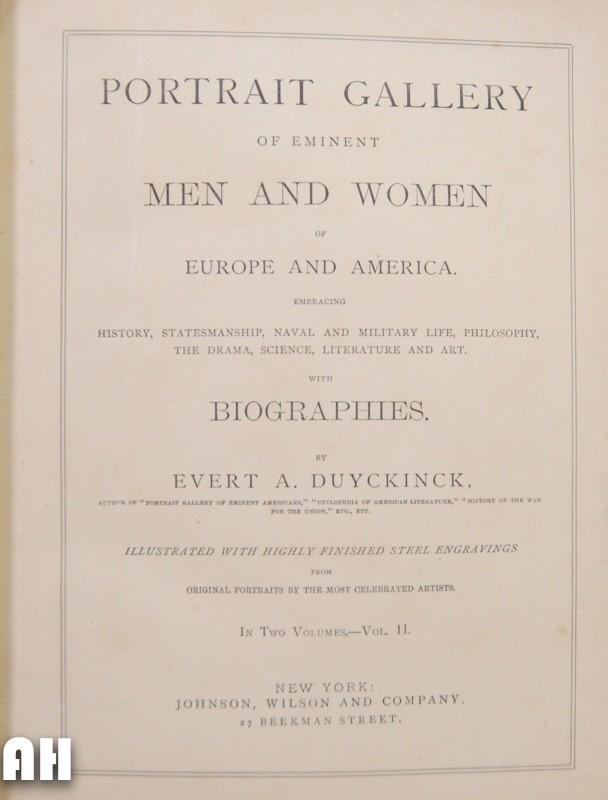 Portrait Gallery of Eminent Men and Woman of Europe and America Vol.2
