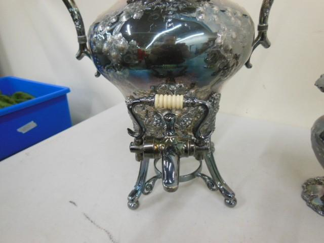 Hand Chased E G Webster Silver Plated Beverage Dispenser and accessories plated Nickel Silver