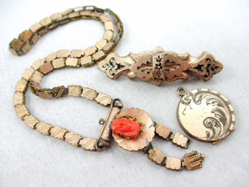 7pc lot of Victorian jewelry- Gold lockets, Victorian taille d' epargne, golden pins, gold chain, amethyst cabochon 14k Topaz, Coral cameo.