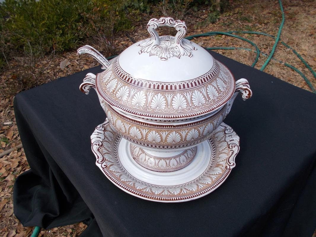 Rare, Beautiful, Antique British Copeland Late Spode Tureen, Ladle and Plate