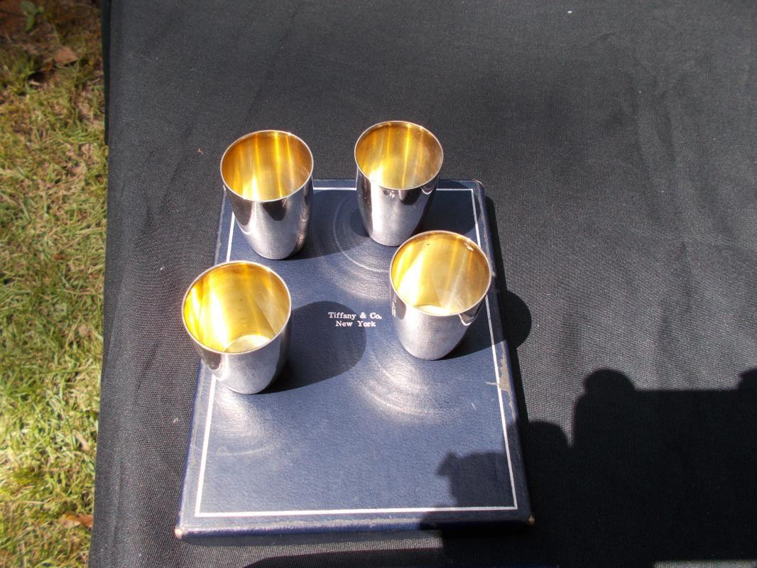 Tiffany Silver Liquor Shot Cups - Set of Four. Mint condition.