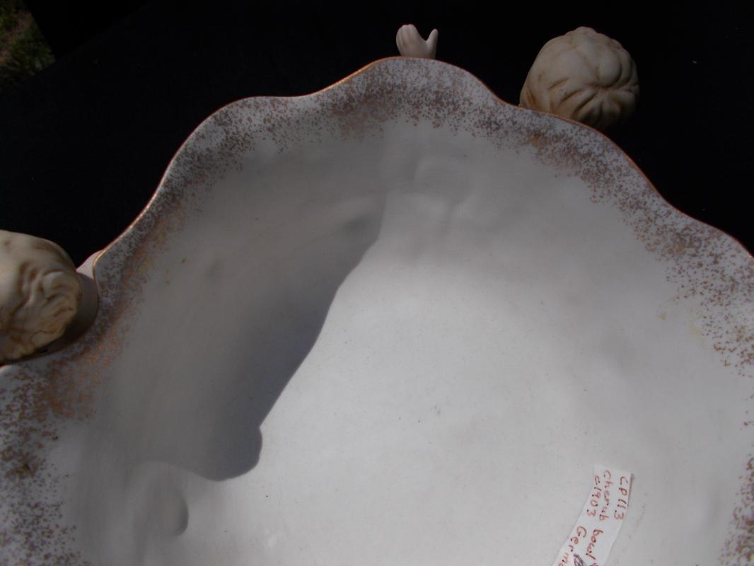 Antique Cherub Bisque Porcelain Bowl c. 1910. Excellent condition. German