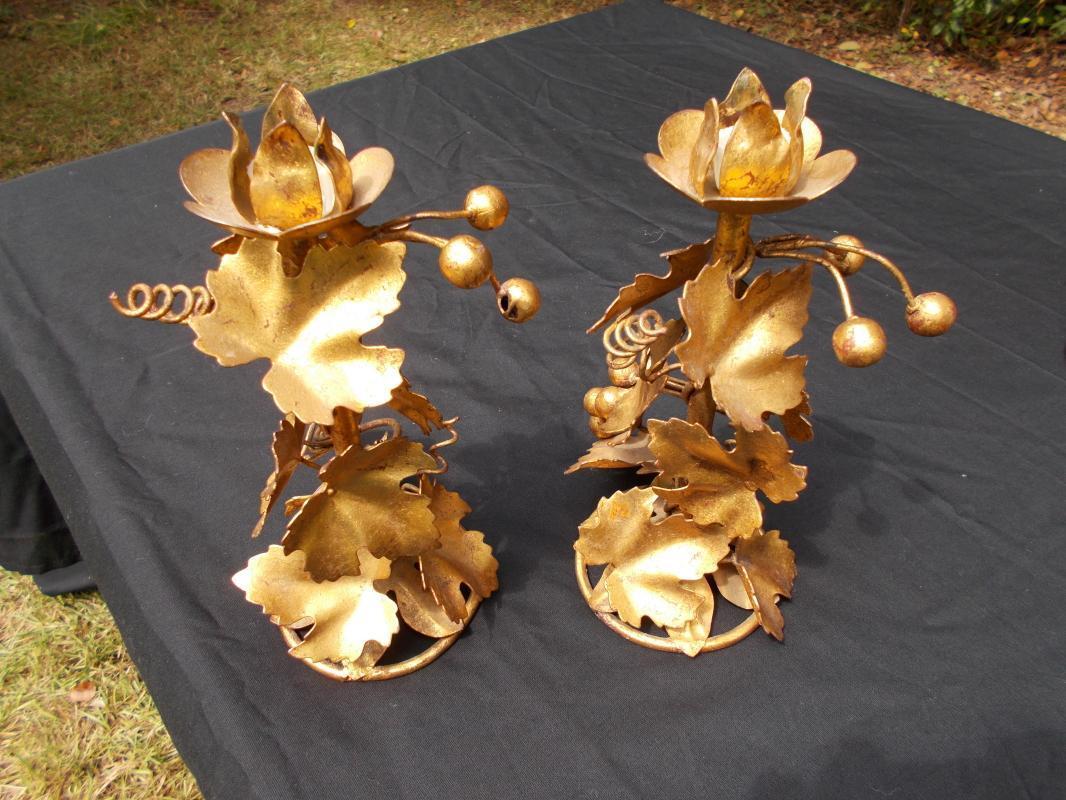Antique French Gilded Metal Grape Motif Bronze Candlesticks.