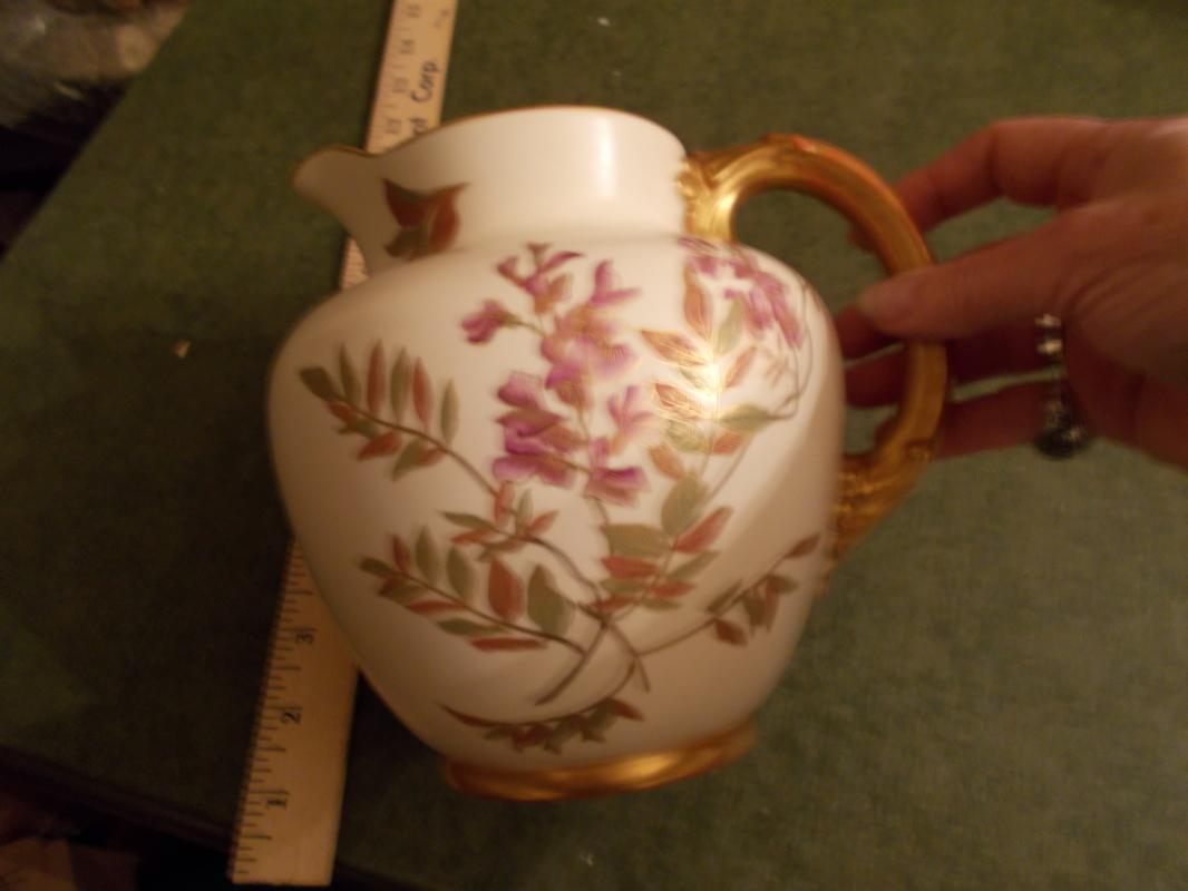 Beautiful, Antique. British Royal Worcester Pitcher (1890).