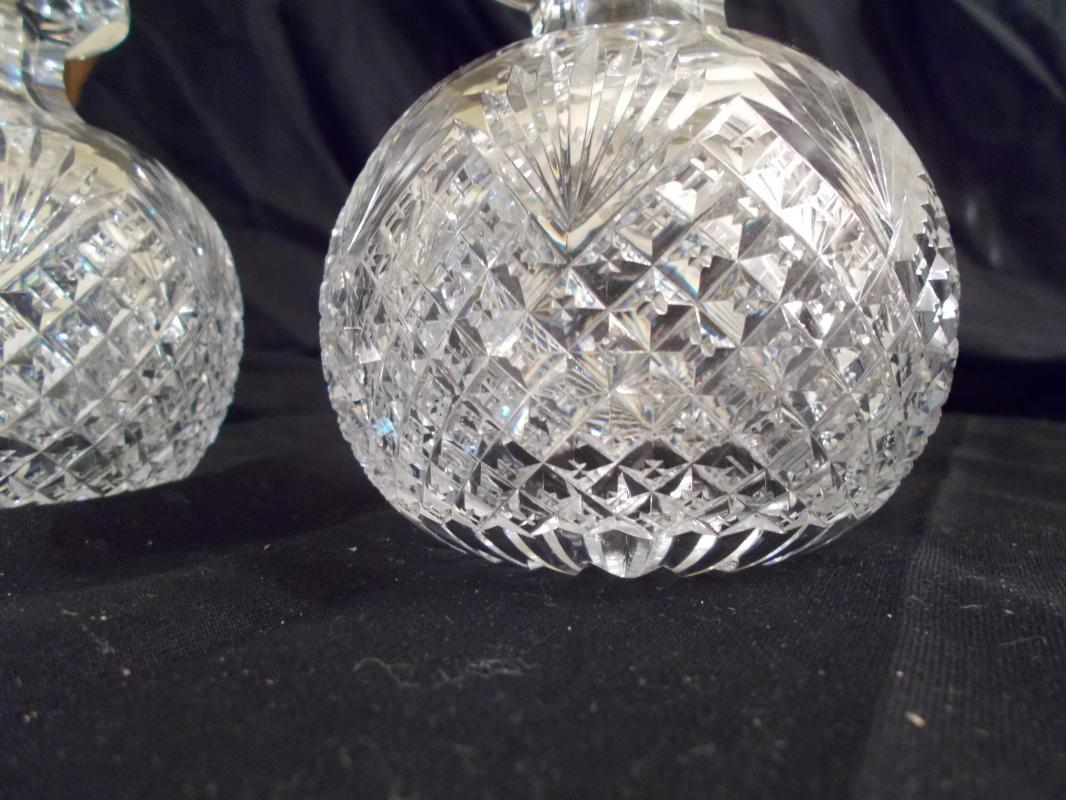 Pair of Antique American Brilliant Period Cut Glass Strawberry, Fan and Diamond Colognes with Stoppers