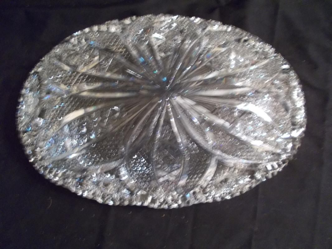 Beautiful American Brilliant Period Cut Glass Bowl with Vesicas. Length of 11 3/4 inches. Width of 8 inches. Height of 2  inches. Mint condition. Heavy. Four pounds.