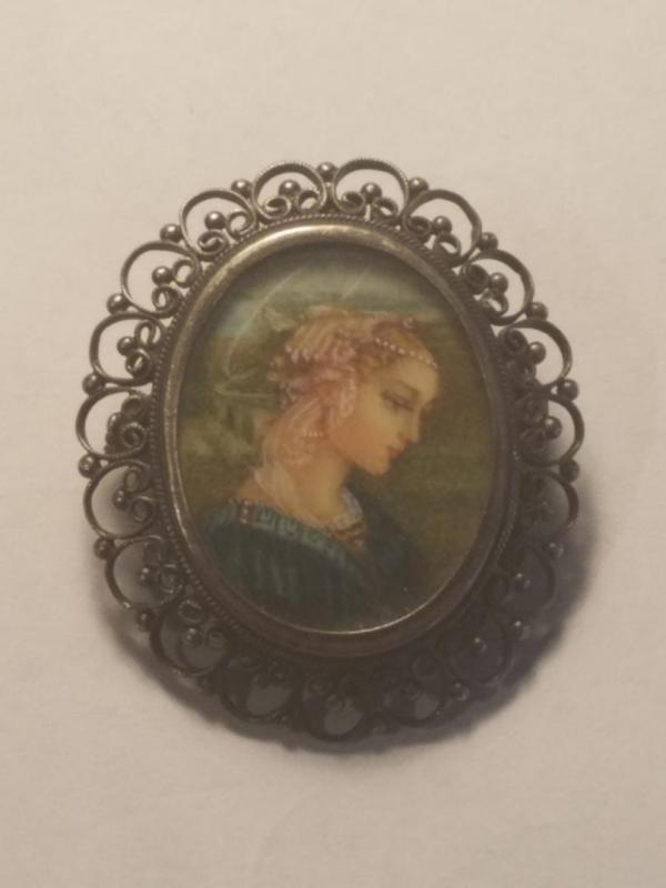 19th Century Italian Silver Porcelain Brooch