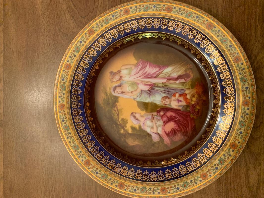1915-1930 hand painted cabinet plate
