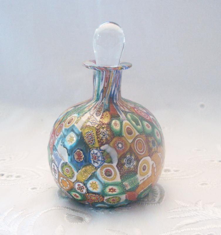 Gold Millefiori Perfume Bottle