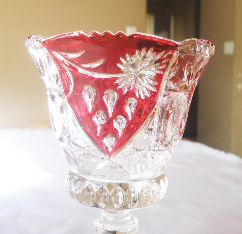 Red Cut to Clear Goblet