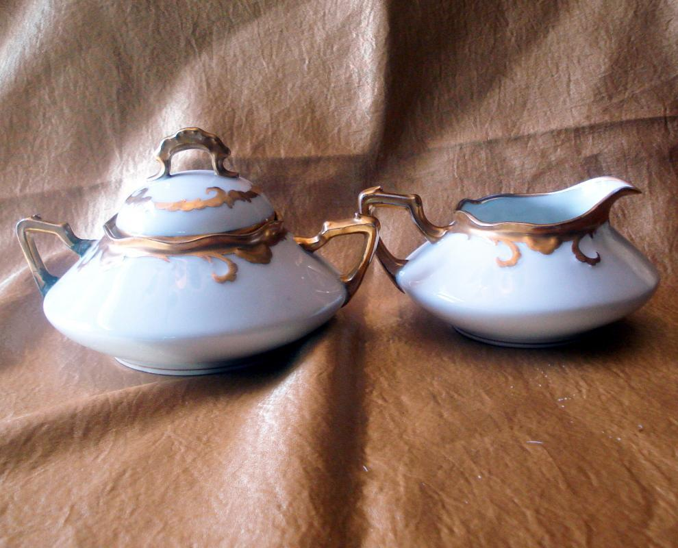Limoges Old Abbey Coffee Pot plus Sugar Bowl and Creamer
