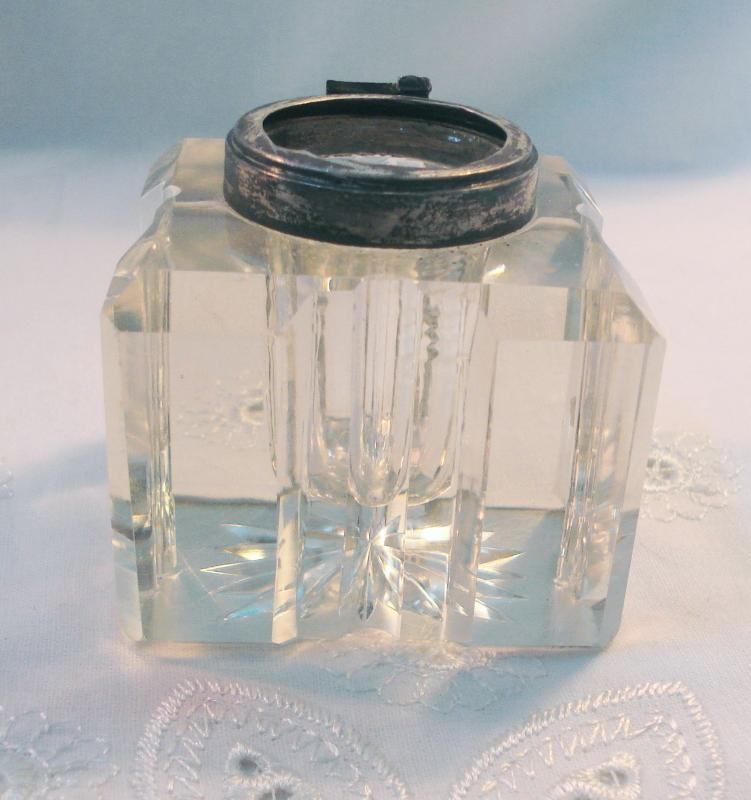 Antique Crystal Ink Well with Sterling Silver Engraved Cap