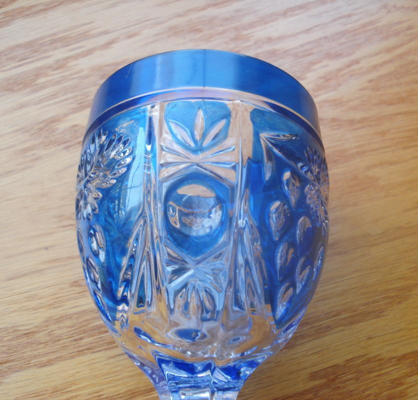 Anna Hütte Bliekristall Cobalt Flashed Water Goblet