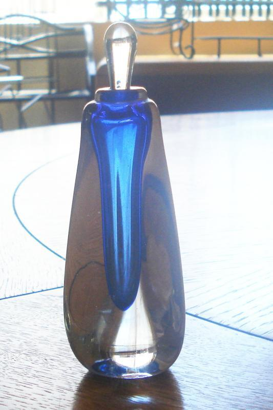 Blue Signed Cased in Clear Perfume Bottle