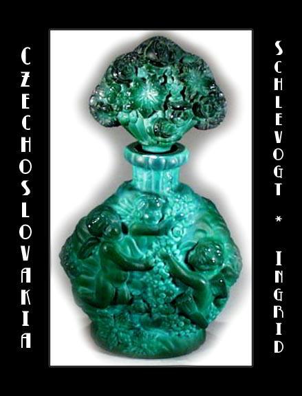 CZ MALACHITE COLOR GLASS PERFUME BOTTLE 1930's