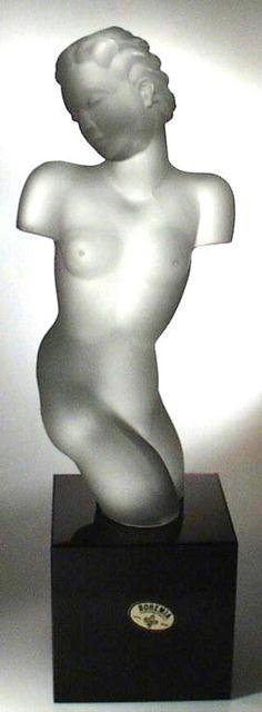 CZECH ART DECO GLASS SCULPTURE NUDE FEMALE