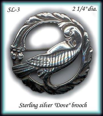 VINTAGE STERLING SILVER DOVE BROOCH SL003