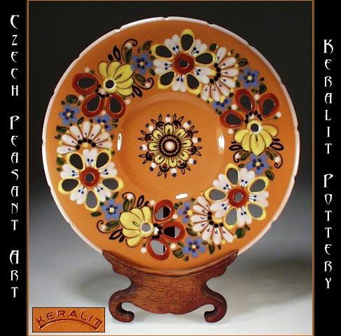 CZECH PEASANT ART POTTERY PIERCED PLATE CP-15