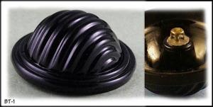 2 LARGE BLACK GLASS HAT BUTTONS 20's #001