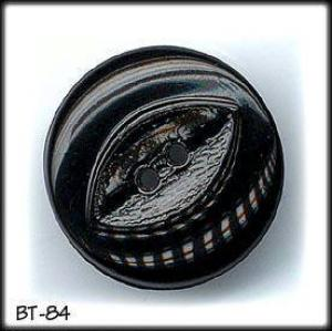 20 VINTAGE BLACK GLASS BUTTONS 50's #84