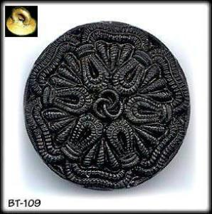 3 LACY BLACK GLASS BUTTONS 20's #109