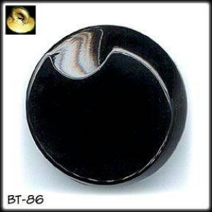 10 BLACK GLASS BUTTONS 50's #86